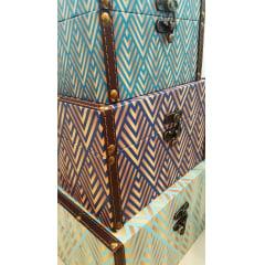 Conjunto De Baús Decorativos Blue Vintage  – 3 Peças
